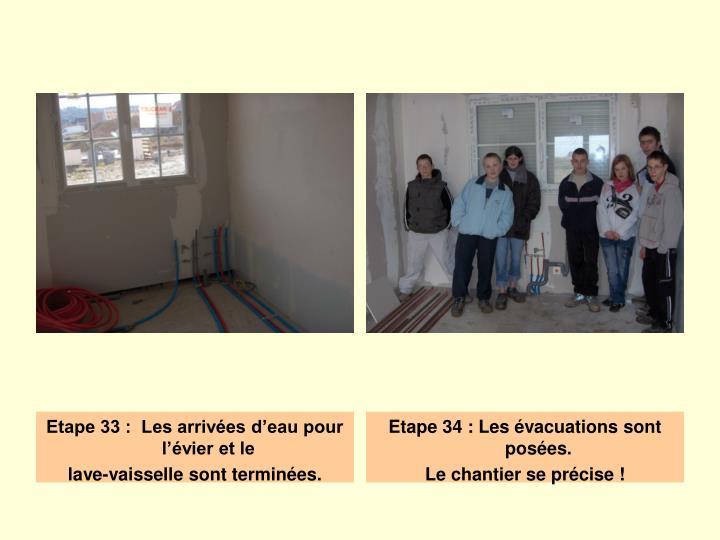 Etape 33 :  Les arrivées d'eau pour l'évier et le