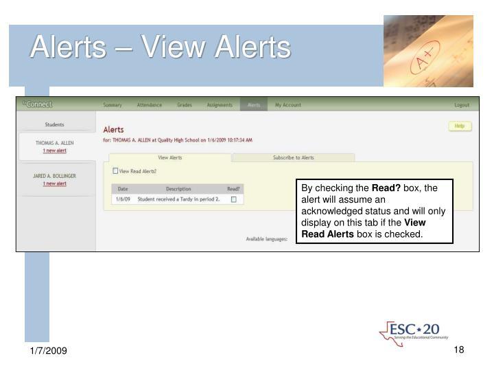 Alerts – View Alerts