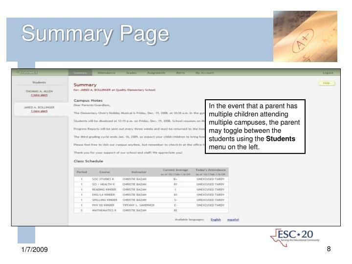 Summary Page