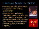 hands on activities content