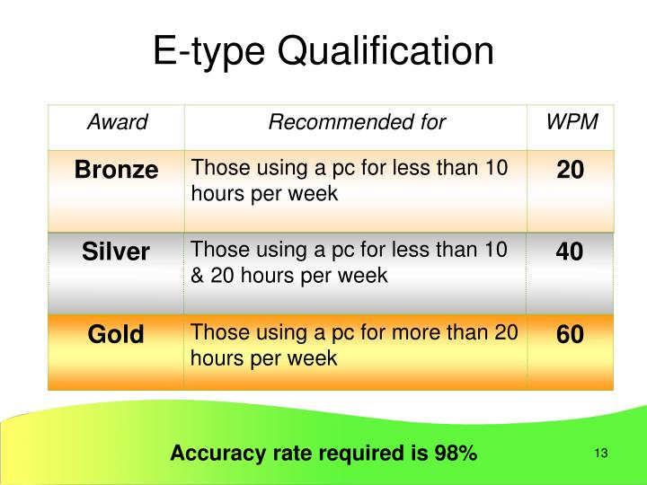 E-type Qualification