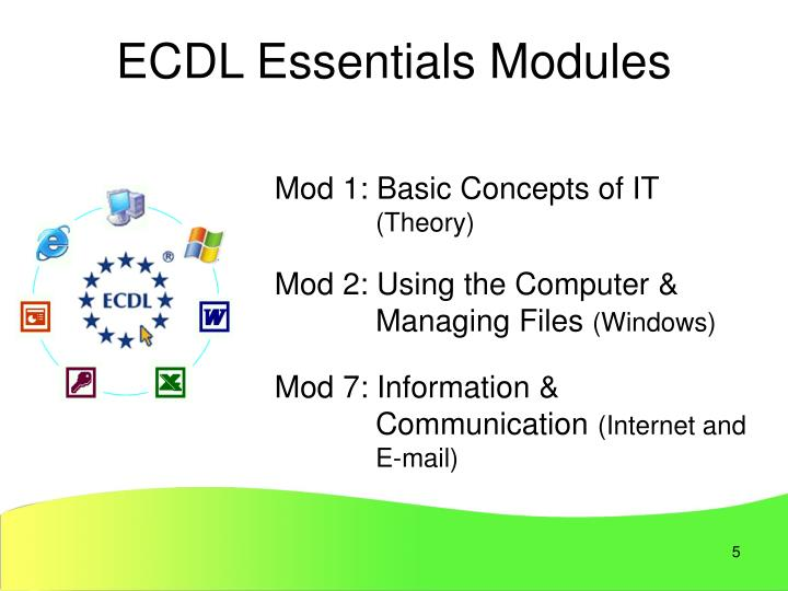 ECDL Essentials Modules