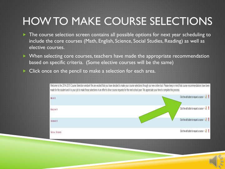 How to make Course selections