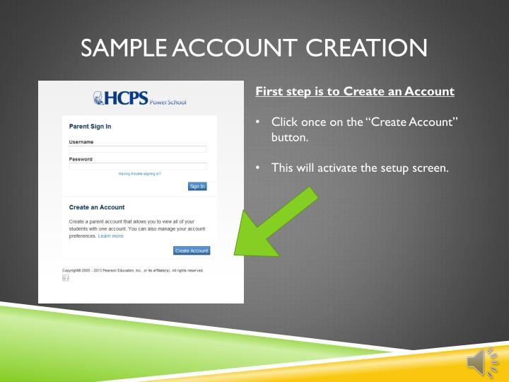 Sample account creation
