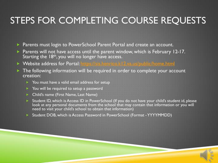 Steps for completing course requests
