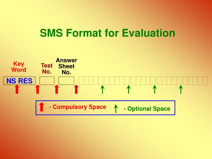 SMS Format for Evaluation