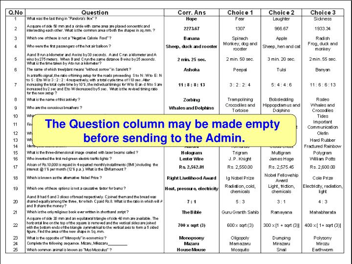 The Question column may be made empty