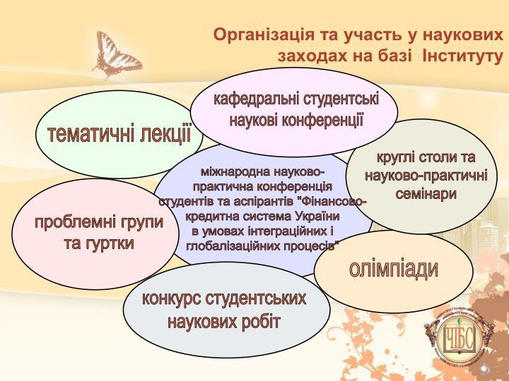 Організація та участь у наукових заходах на базі  Інституту