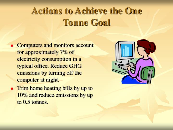 Actions to Achieve the One           Tonne Goal