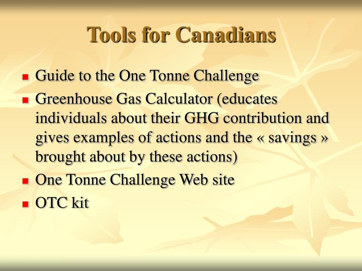 Tools for Canadians
