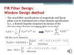 fir filter design window design method