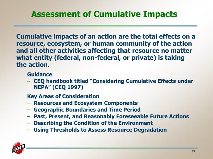 Assessment of Cumulative Impacts