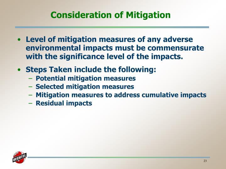 Consideration of Mitigation