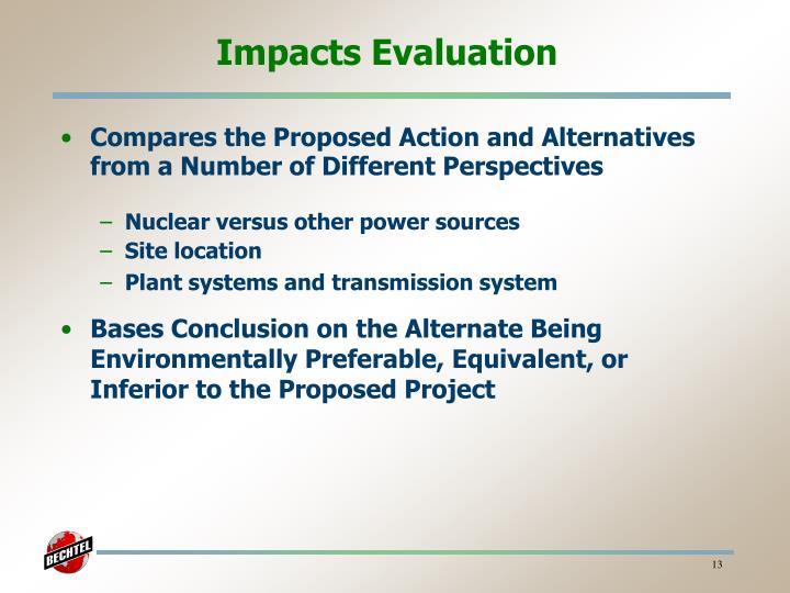 Impacts Evaluation