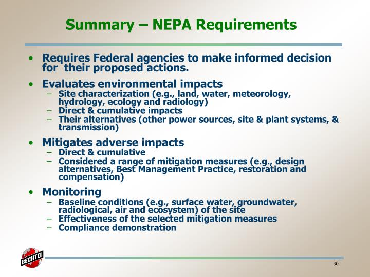 Summary – NEPA Requirements