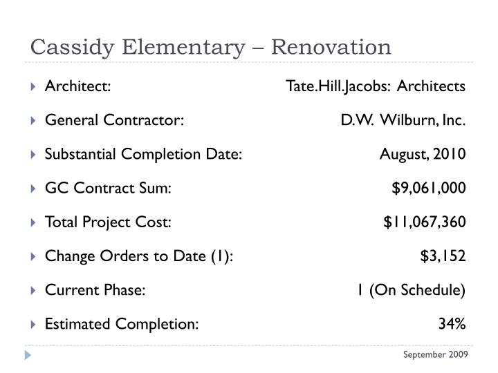 Cassidy elementary renovation