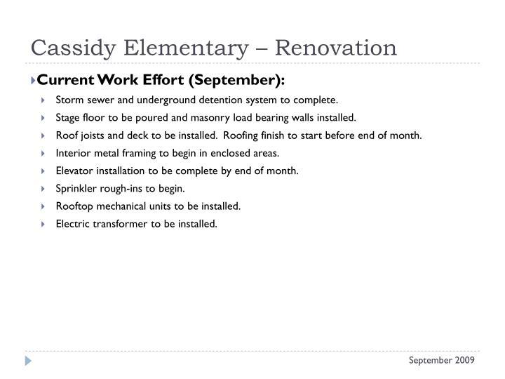 Cassidy Elementary – Renovation