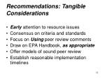 recommendations tangible considerations