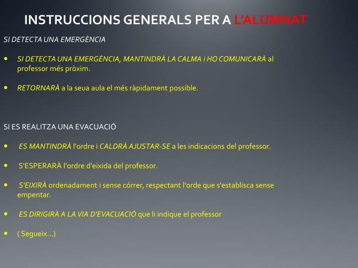 INSTRUCCIONS GENERALS PER A