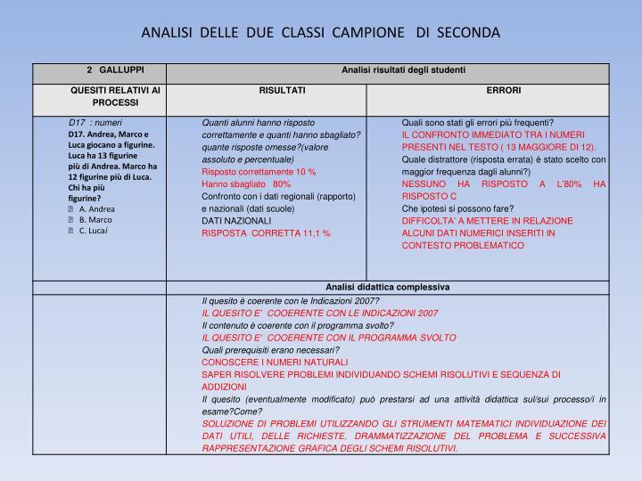 ANALISI  DELLE  DUE  CLASSI  CAMPIONE   DI  SECONDA