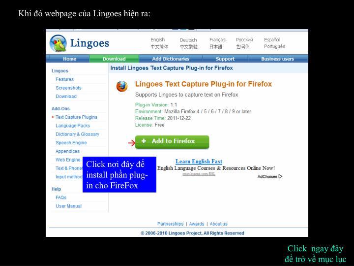 Khi đó webpage của Lingoes hiện ra: