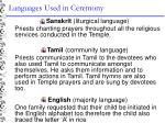 languages used in ceremony