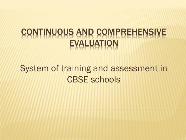 system of training and assessment in cbse schools n.