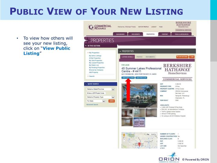Public View of Your New Listing