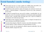testul fumului smoke testing