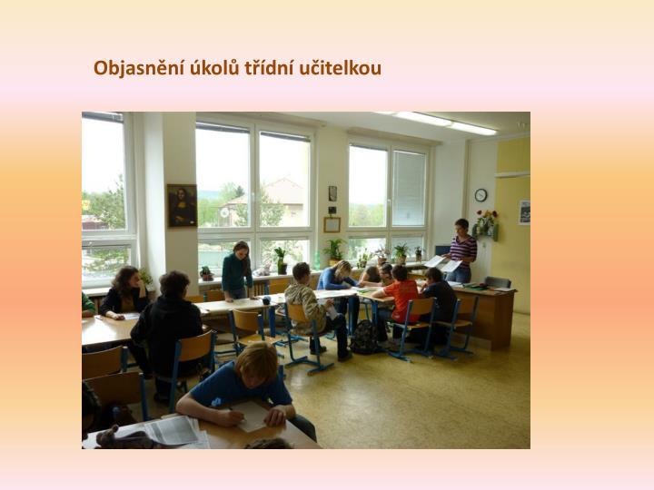 Objasnění úkolů třídní učitelkou