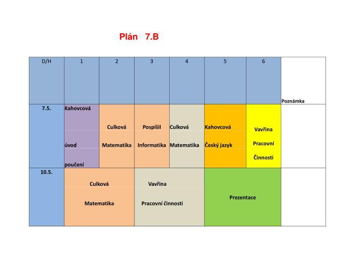 Plán   7.B