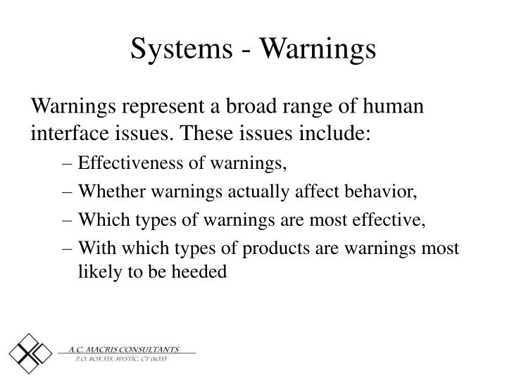 Systems - Warnings