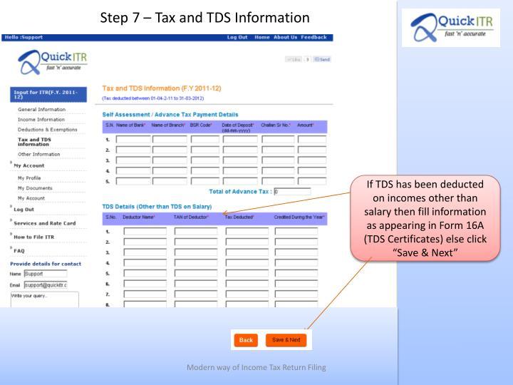 Step 7 – Tax