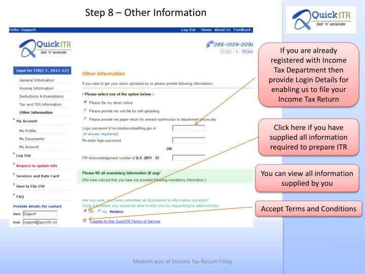Step 8 – Other Information