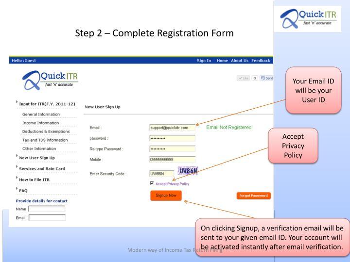 Step 2 – Complete Registration