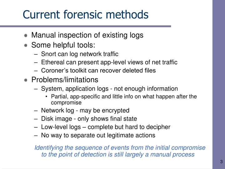 forensic methods Forensic chemistry is the application of chemistry and its subfield, forensic toxicology, in a legal setting a forensic chemist can assist in the identification of unknown materials found at a crime scene  [1.