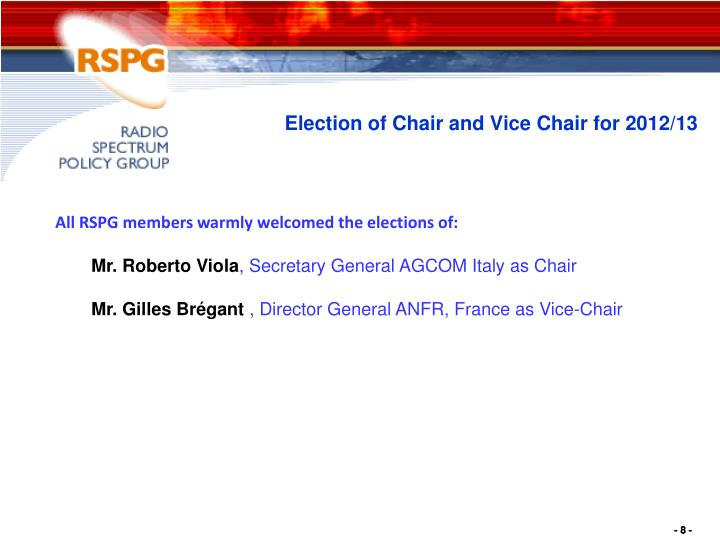 Election of Chair and Vice Chair for 2012/13