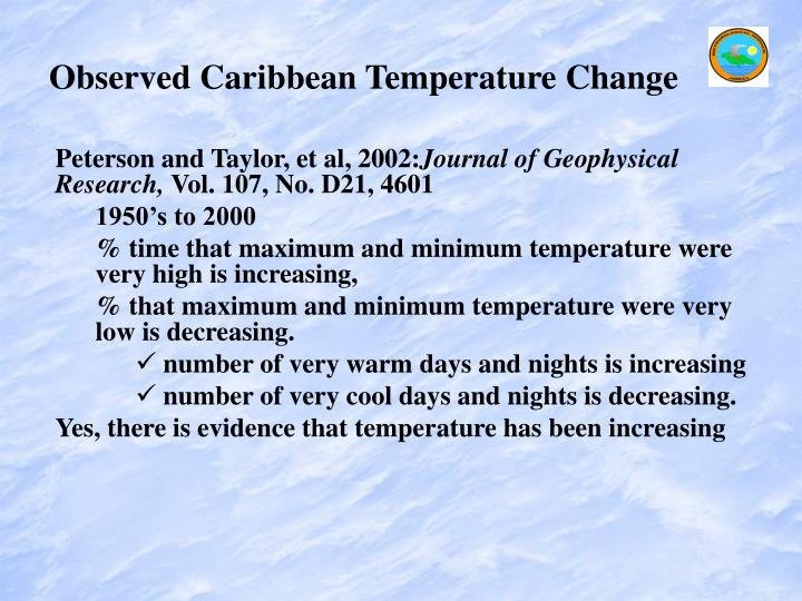 Observed Caribbean Temperature Change