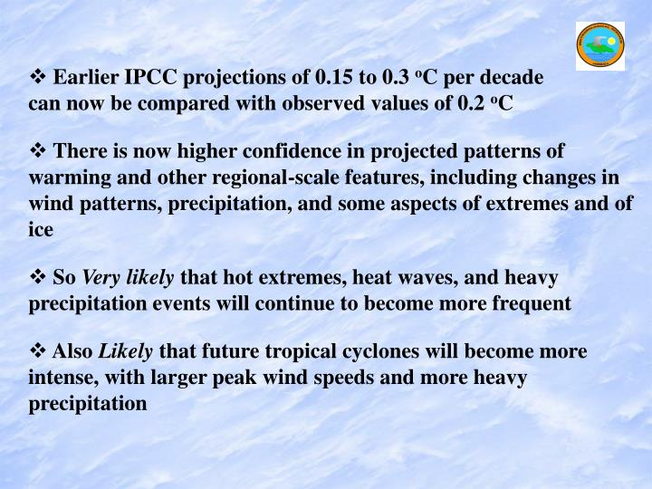 Earlier IPCC projections of 0.15 to 0.3