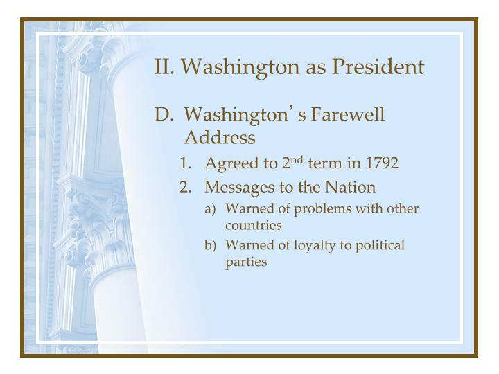 II. Washington as President