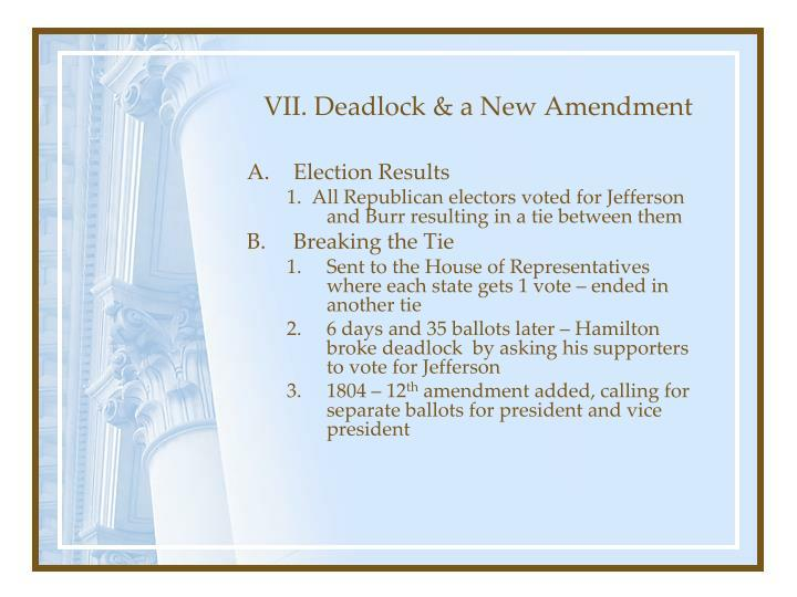 VII. Deadlock & a New Amendment