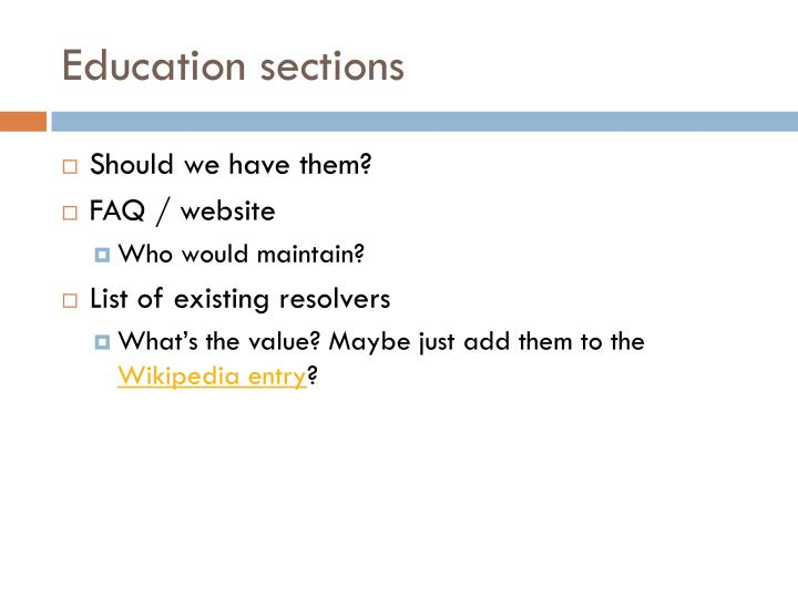 Education sections