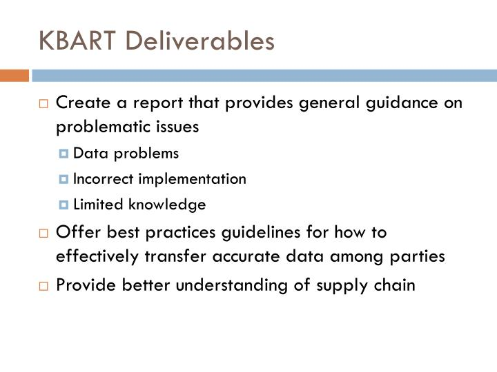 KBART Deliverables
