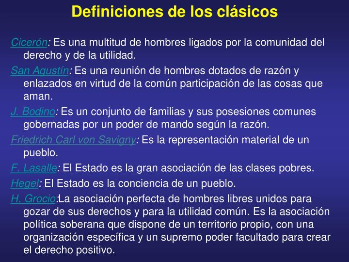 Definiciones de los clásicos