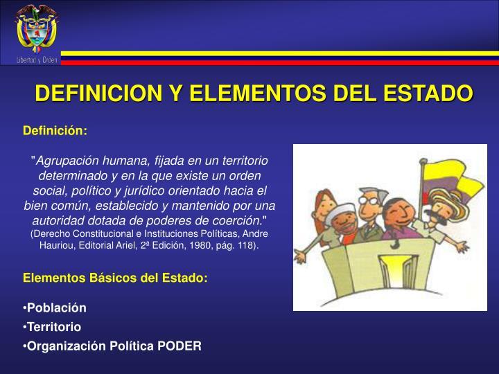 DEFINICION Y ELEMENTOS DEL ESTADO