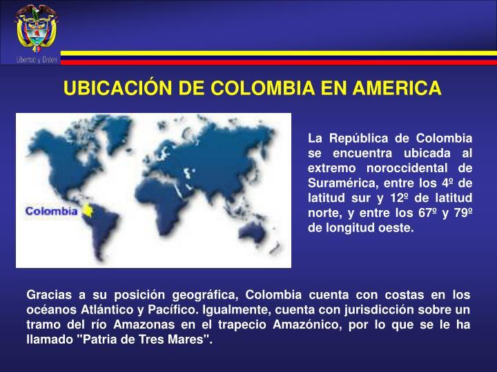 UBICACIÓN DE COLOMBIA EN AMERICA