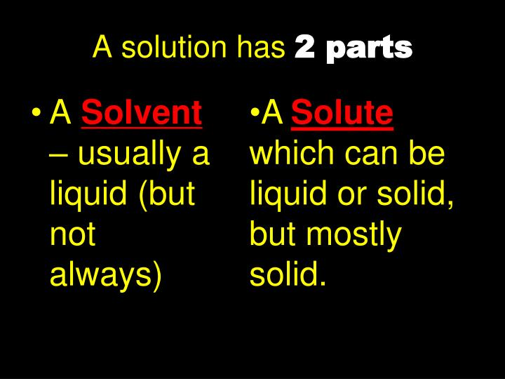 A solution has