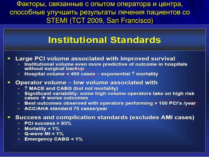 Факторы, связанные с опытом оператора и центра, способные улучшить результаты лечения пациентов со
