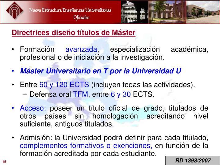 Directrices diseño títulos de Máster