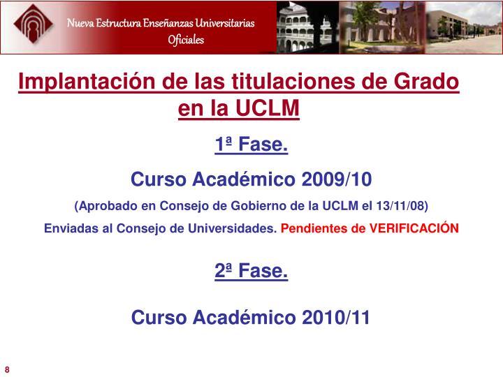 Implantación de las titulaciones de Grado en la UCLM